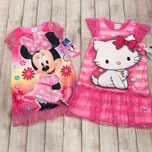 NWT 4T Girls Silky Nightgowns Minnie Hello Kitty